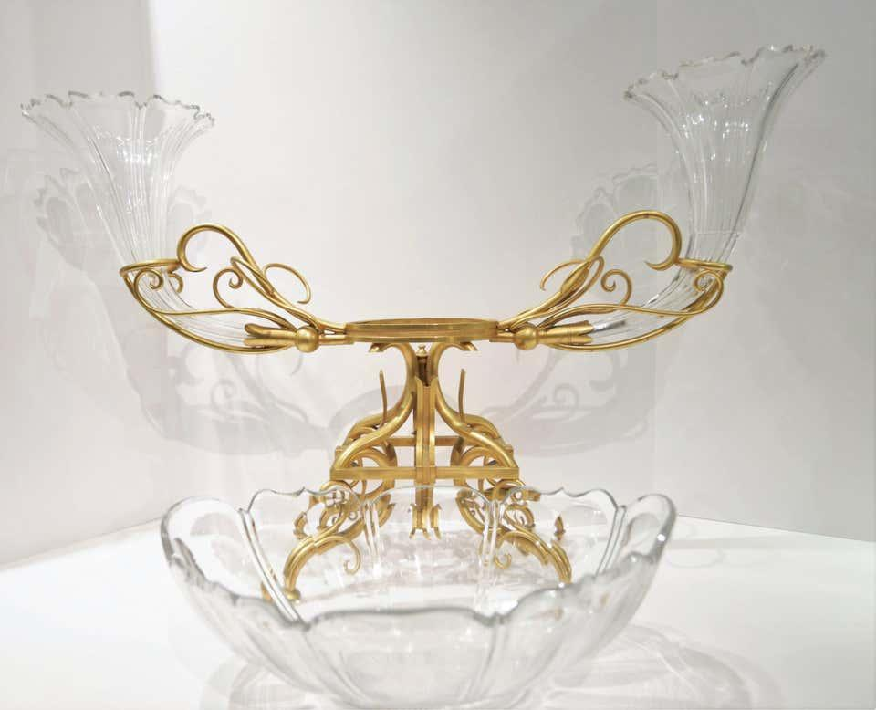 Antique Gilt Bronze and Glass Centerpiece and Epergne