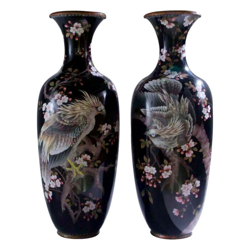 Pair Tall Japanese Meiji Aesthetic Period Cloisonne Vases