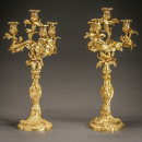 Pair Scottish Campbell Clan Royal Rococo Louis XV Ormolu Bronze Candelabra