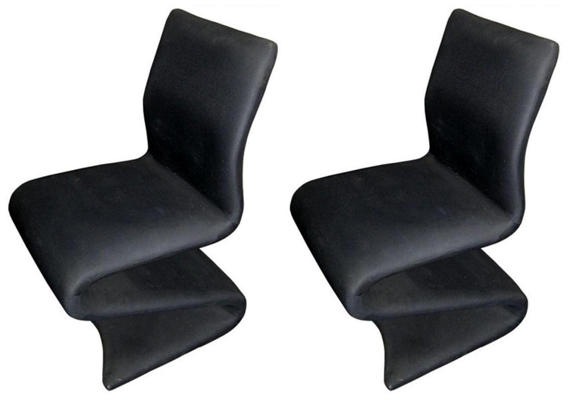 Pair Vintage Mid-Century Modern Z Chairs After Verner Panton
