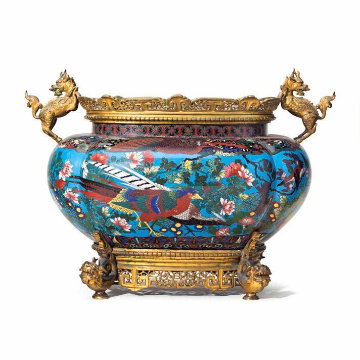 Meiji Japanese Cloisonne Enamel Garniture Bowl and Vases