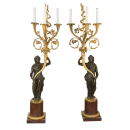 Pair Antique French Figural Bronze and Marble Candelabra Lamps