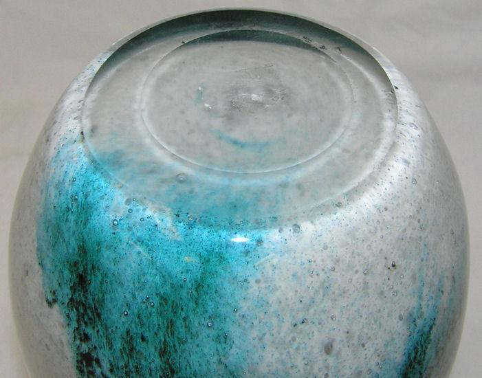Legras Art Deco Period Green Etched Glass Vase