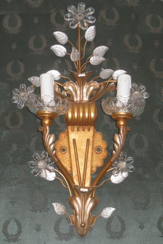 Set of Six (6) Florentine Gilt Metal and Crystal Sconces from Banci of Florence Italy