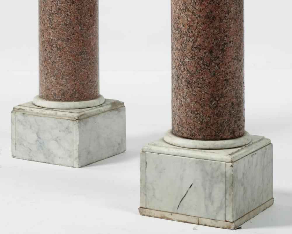 Pair Antique Pink Granite and Marble Vases and Pedestals