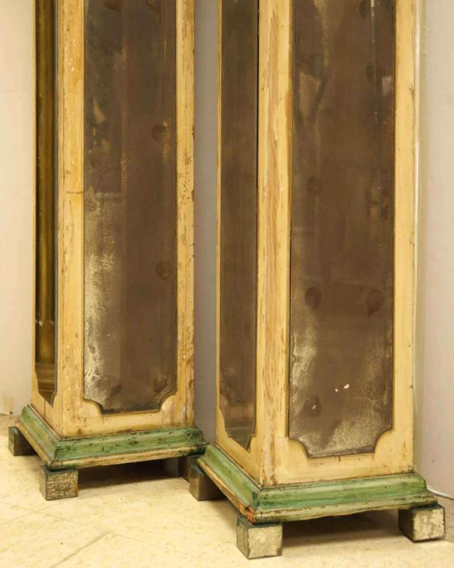 Antique French Verre Eglomise Mirrored Pedestals / Plant Stands