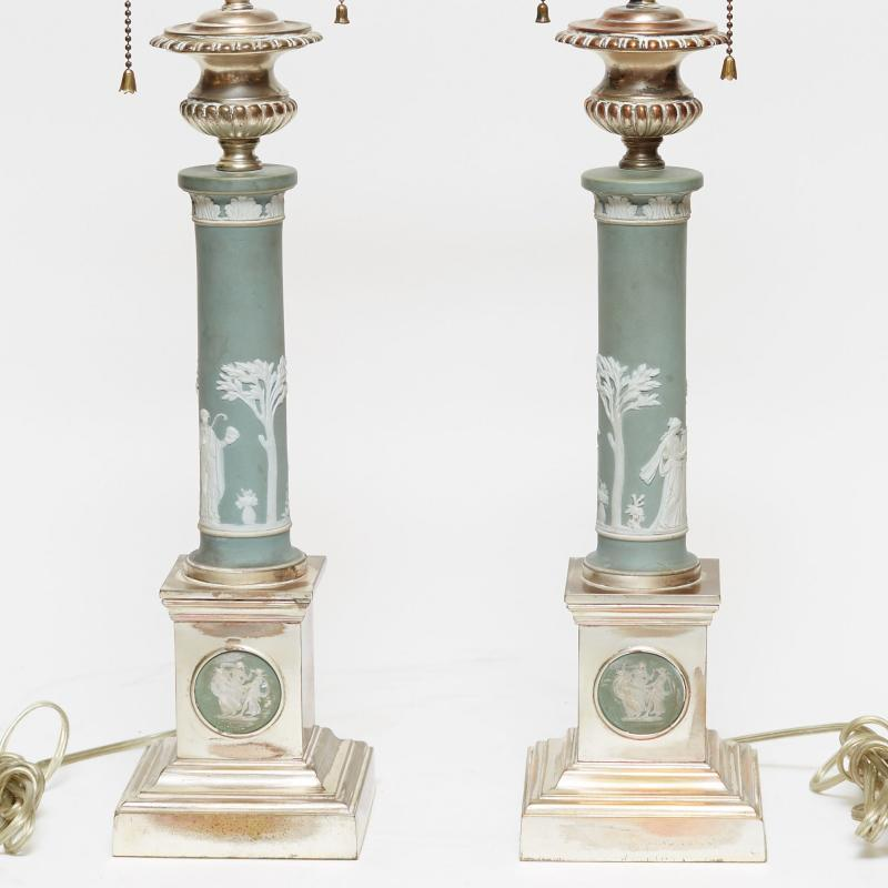 Pair Jasperware Porcelain and Silverplated Neoclassical Table Lamps