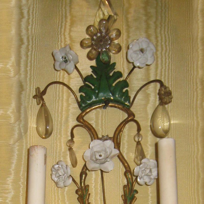 Set of Four (4) Gilt Metal and Floral Porcelain Sconces
