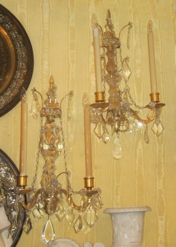 Pair Antique Molded Glass and Gilt Bronze Sconces