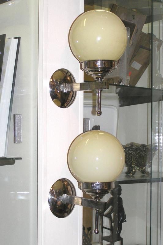 Pair Austrian Art Deco Period Chrome Sconces