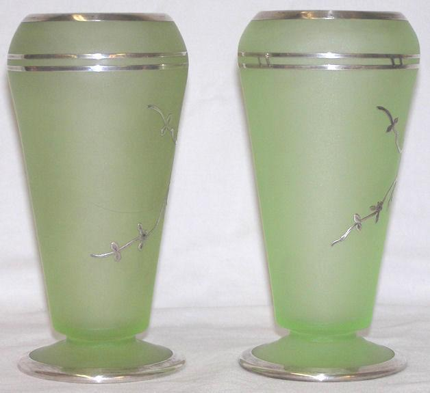 Pair 1930s Tiffin Cupped Dahlia Glass Vases with Rockwell Silver Overlay with Parrots