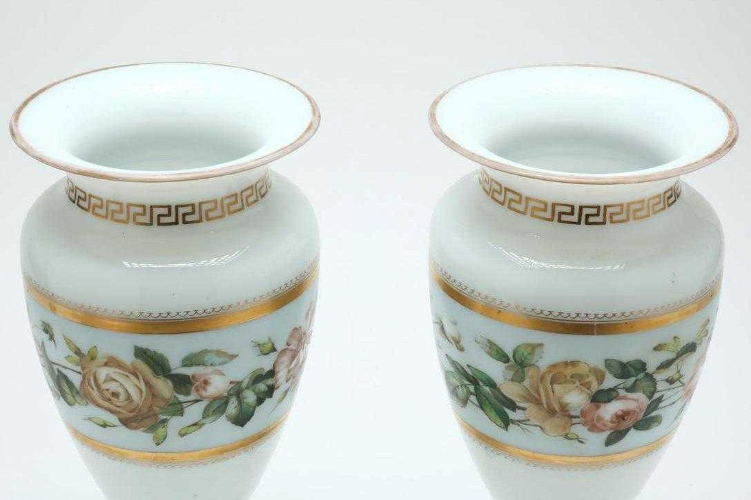 Pair Antique Continental Floral Painted Opaline Glass Vases