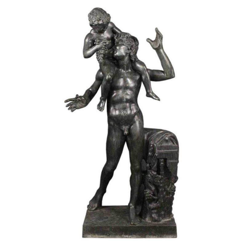 Faun with Infant Bacchus Lifesize Bronze Statue from Chiurazzi