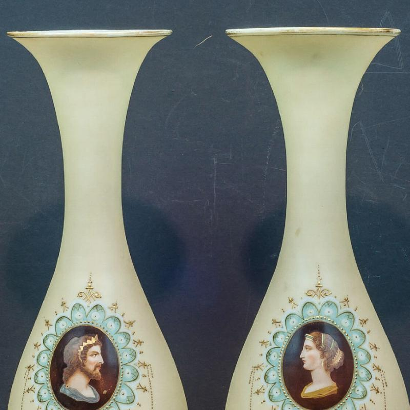 Pair Greek Revival Bristol Glass Vases