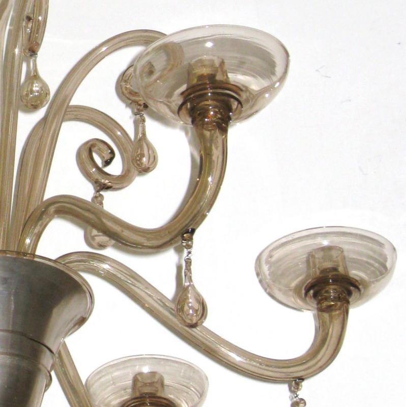 Venini Art Deco Glass Chandelier by Napoleone Martinuzzi