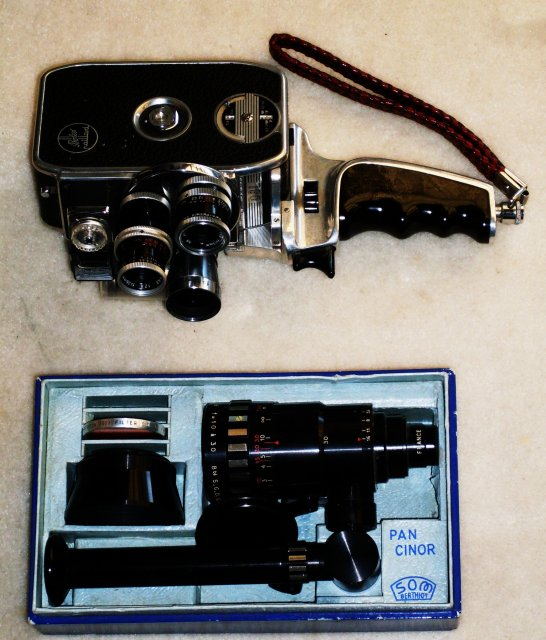 Makes a Excellent Gift at this time of year. $495.00 Photography _BOLEX Paillard D8L Movie Camera + PAN CINOR SOM Berthiot 1: 2.8 Lens_Beautiful Original Condition_2 Kern Paillard Switzerland Lens_1 Sankyo 8mm Cine Lens AND NORWOOD DIRECTOR Model C Meter