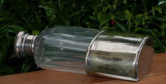 Antique 19th C Victorian Sterling Silver _c1882_Hallmark TJW  Thomas Jones Watson + Rib Cut Crystal Hip Flask  Lovely condition Shipping to U.S.A. Canada + Great Britain