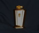 Art Deco Collectible Cigarette TABLE Top LIGHTER _ Japan_ Stamped with Japanese Sail Boat on Bottom. _ A Beauty of Design_ Two-Tone Red + Gray with GOLD finish. Wick is Excellent. Working.