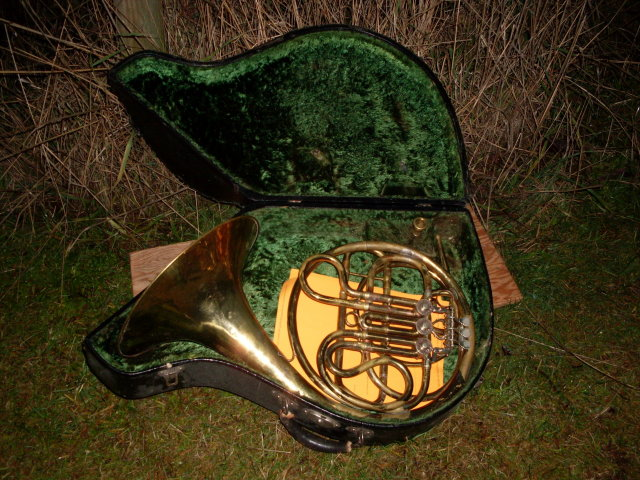 Artifact Circa 1890 _RARE FIND_ Ed. Kruspe FRENCH HORN_*** Stamped Kruspe , Erfurt *** _ Solid Brass_ RARE MODEL_made in Germany__ with Wood construction Locking Case