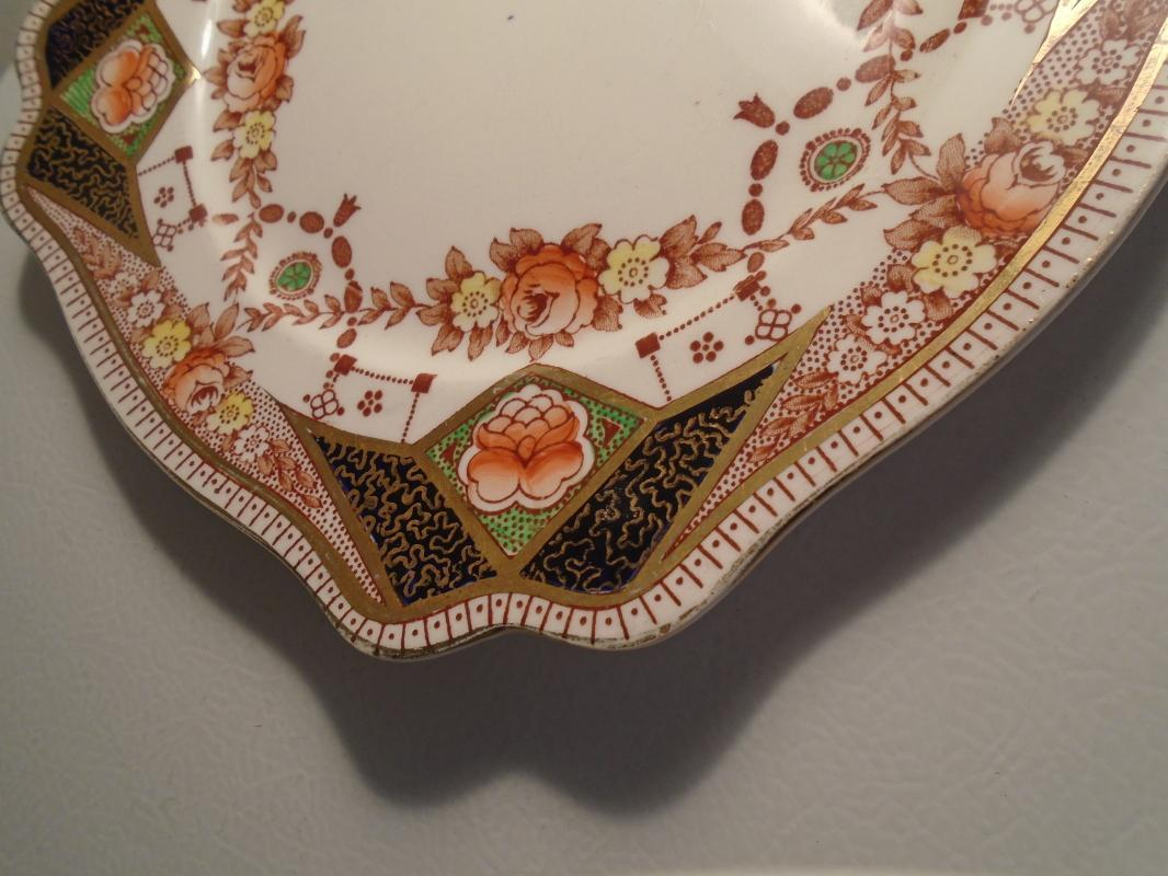 Beautiful ROYAL STAFFORDSHIRE Porcelain 9 1/2 Inch Square Plate _Cobalt Blue , GOLD Gilt + small flower decor.