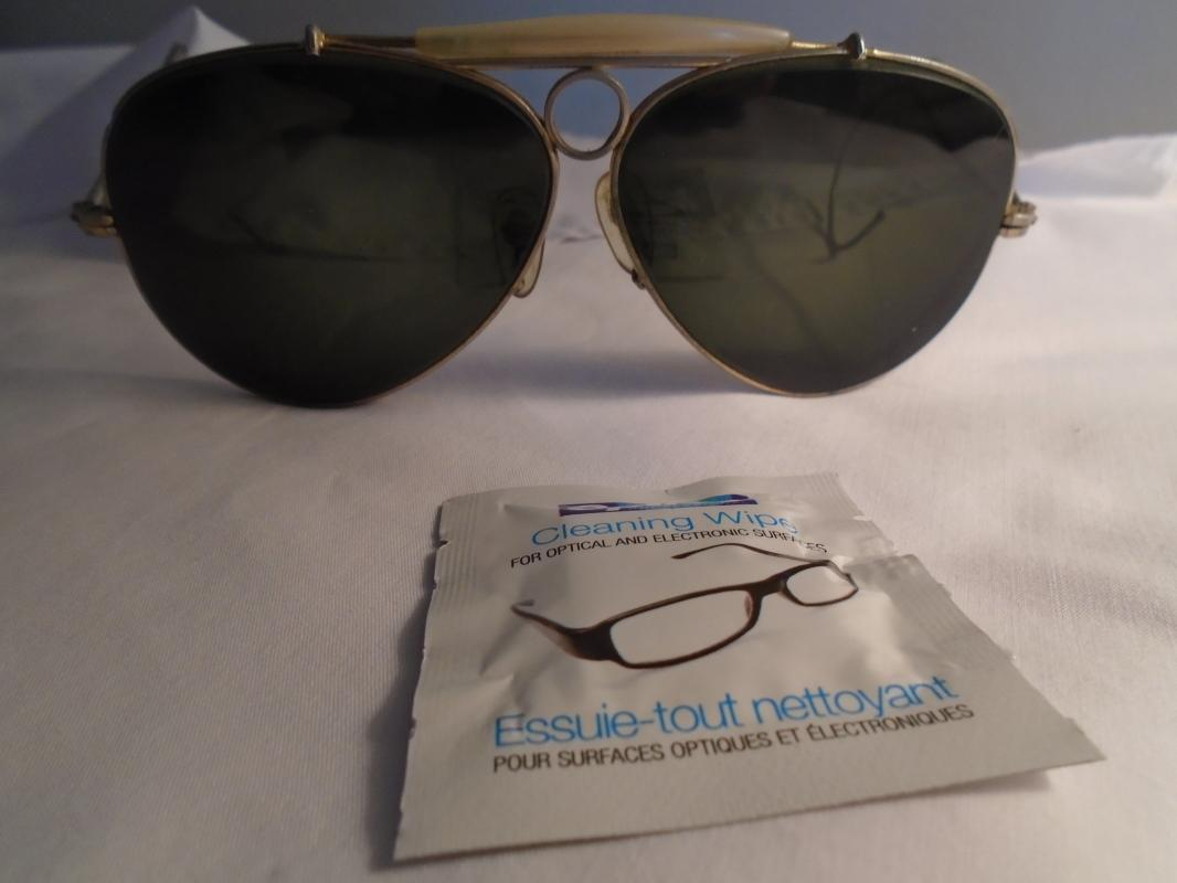 Vintage GOLD plate Pilot sunglasses . Green Bevelled Curved Glass.