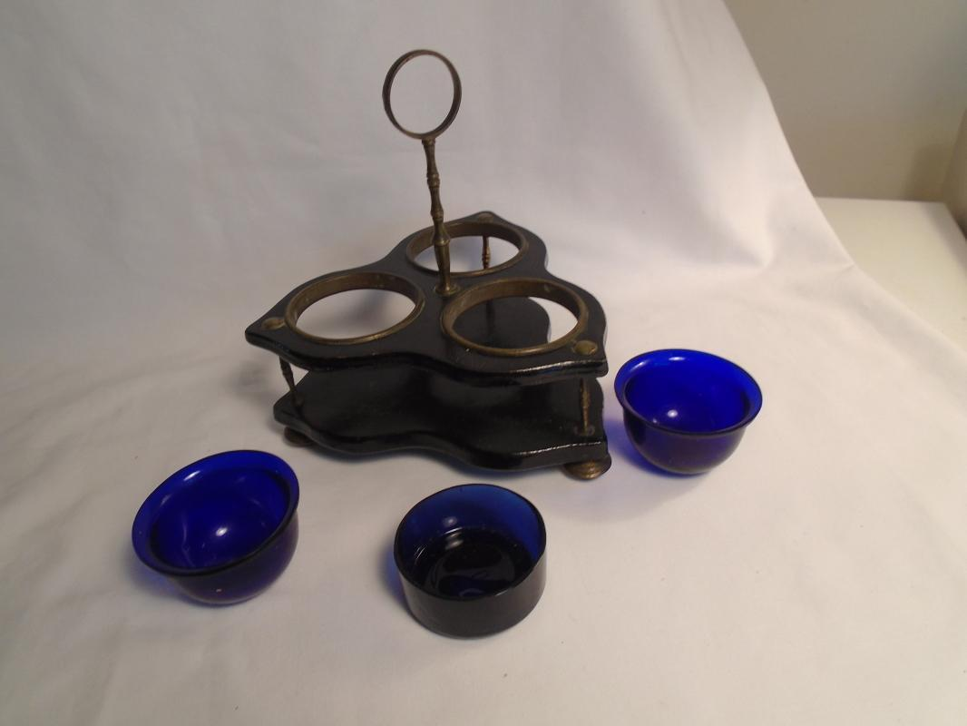 Condiment set with Wood frame + Metal handle. Cobalt Blue Glass liners.