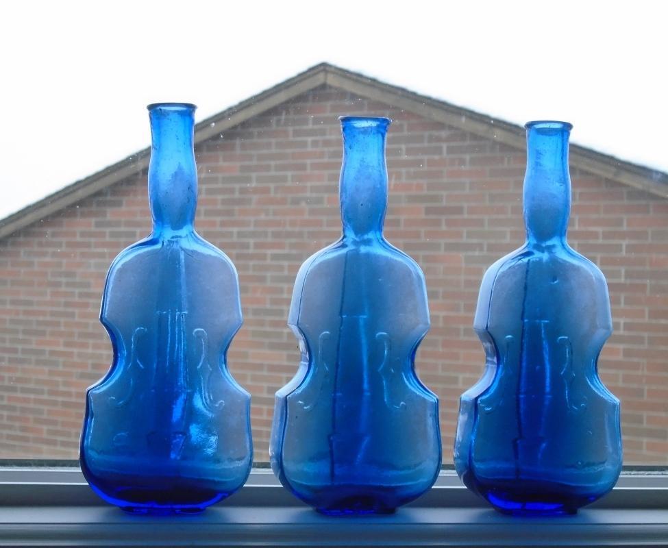 old old ART GLASS Hand Blown VIOLIN Bottles Cobalt Blue Glass Base NO Numbers No Name Stamped equals RARE FIND!