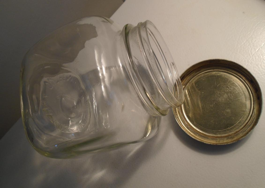 old old old KRAFT FOODS Limited clear glass Jar w/ Original old green painted metal LID