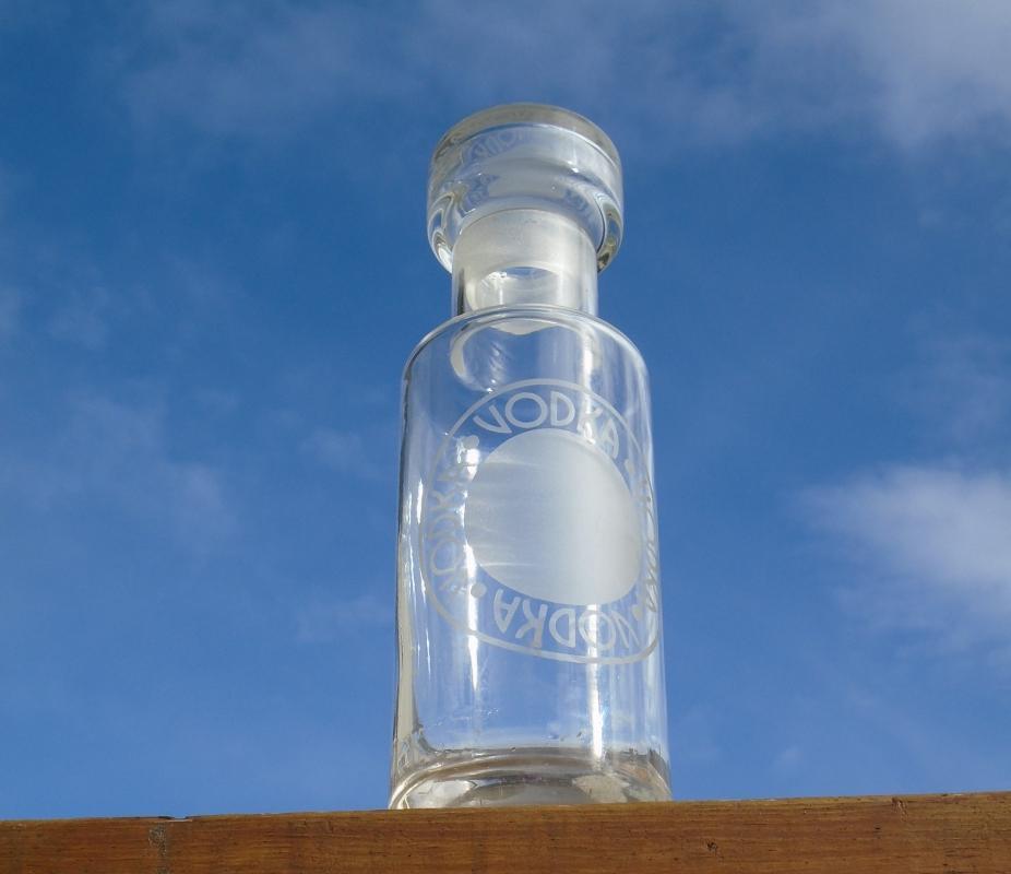 Rare Find Gorgeous VODKA DECANTER with acid Etched Vodka.