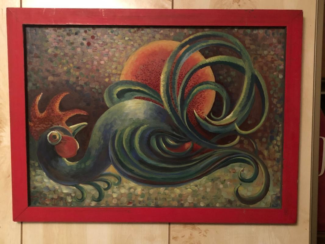 ORIGINAL ART _ Signed Fred Coupland _ Whimsical folk art Rooster_ created while Live TV broadcast_ Wife told story + Fred painted live audience of  childrens program