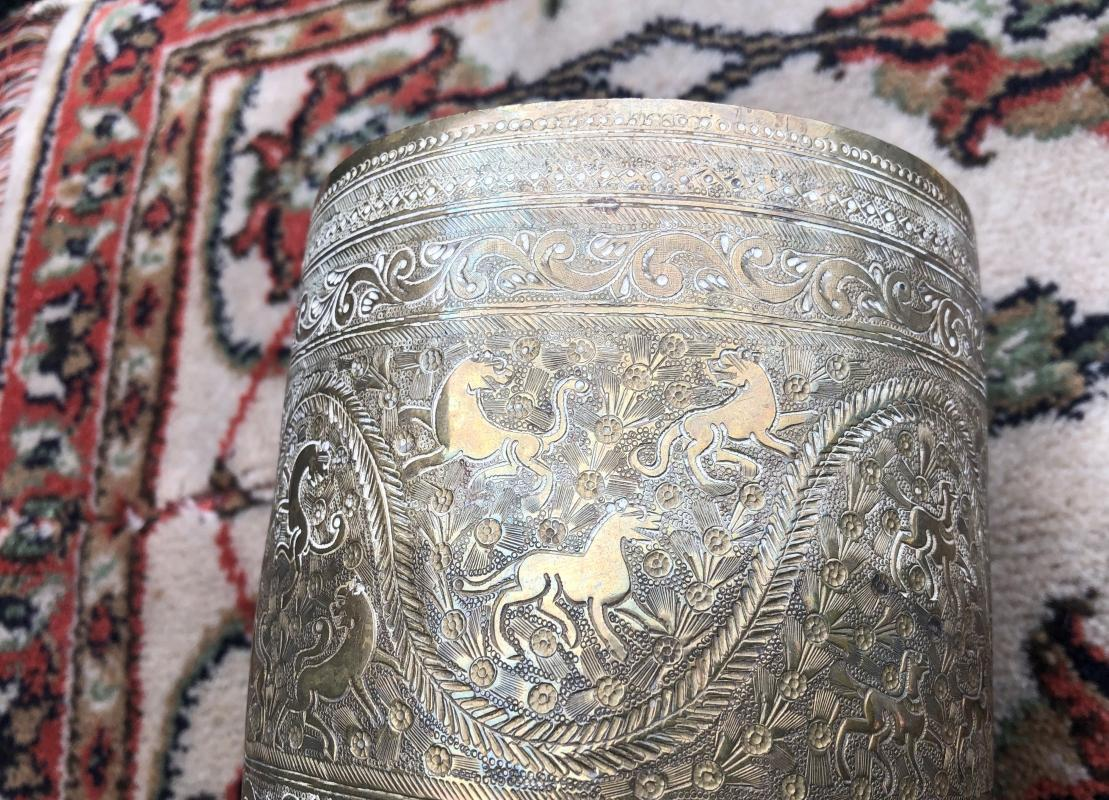MAMLUK OTTOMAN Empire __Qajar Antique c1850-1899 with 4 scenes of Lions + 4 scenes Goats _ Hand Engraved SOLID BRASS Jardinere / Pot