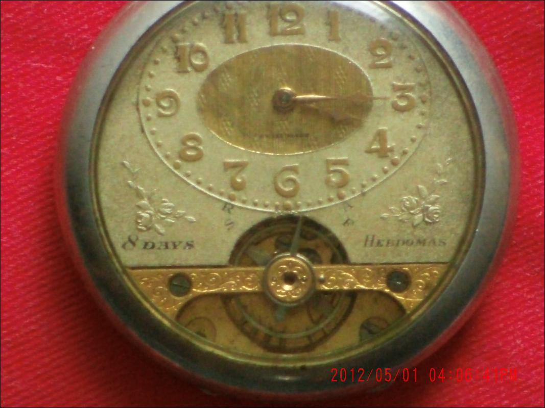 Excellent WORKING 8 Day HEBDOMAS Pocket Watch SILVER pocketwatch + Case+ GOLD Ornate CHAIN + GOLD locket