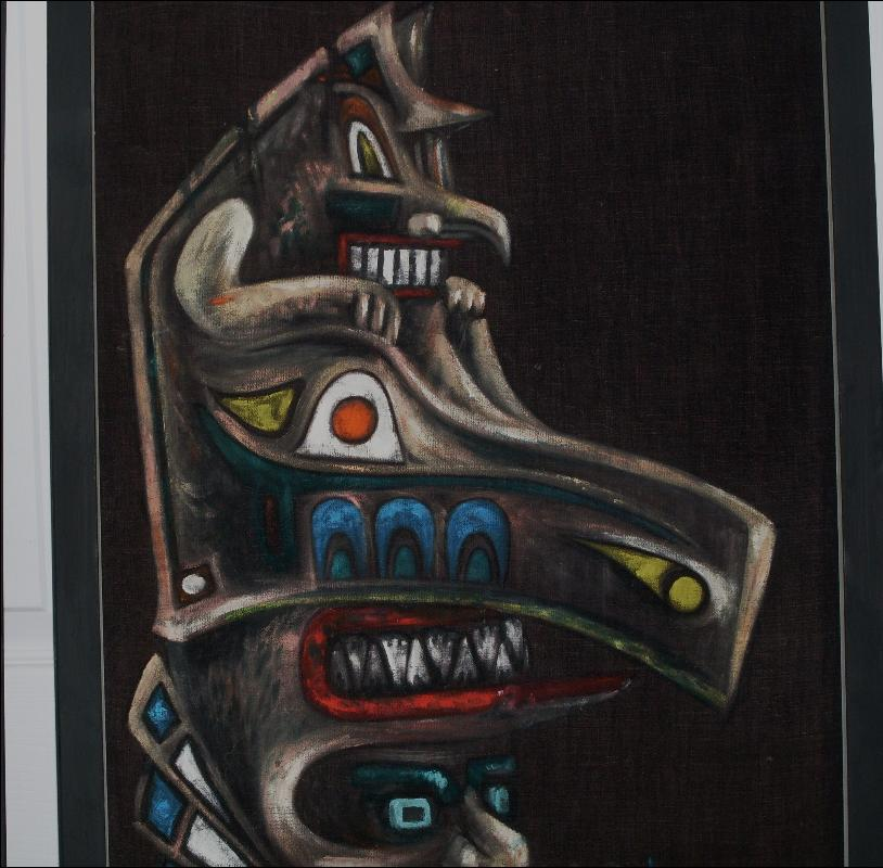 Vintage NORTHWEST COAST Native Indian OIL PAINTINGS on Velvet or Velour Fabric on Board _Signed: Harv Overton _ SIZE 20