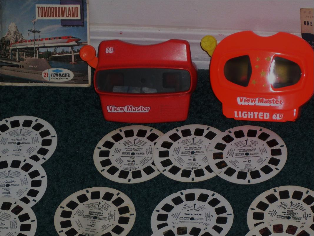 2 Viewmasters and Lot of Round Disc Viewmaster Reels _Slides Circa 1955-1985 includes 3 Reels A-TEAM; 2 Reels Meet Jim Henson's Muppets etc