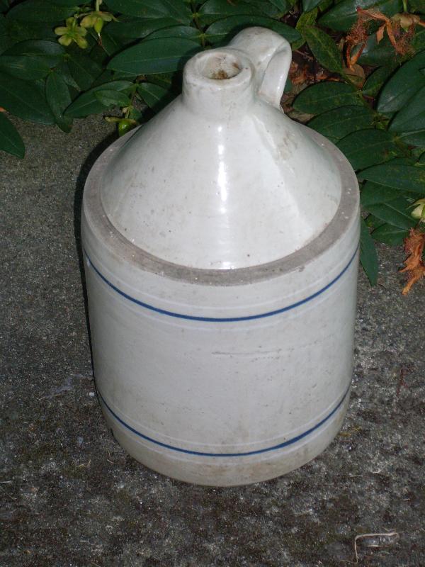 Wonderful old Antique Circa 1850-1899 _ Stoneware Jug_ Crockery_ with Blue Stripes _ Size 11 1/2