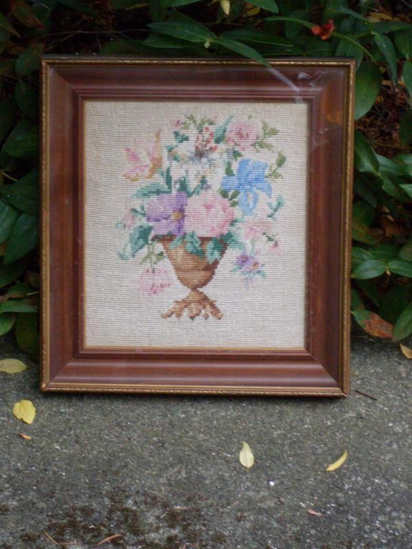Original the T. EATON'S of Canada Shadow Box Picture Frame & Bouquet Flowers Needlepoint _Cross Stitch