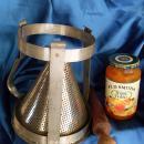 c.1920 SIEVE / STRAINER Kitchen Canning w/Holder & Wooden Rolling Pin + RED Tupperware Label Dispenser