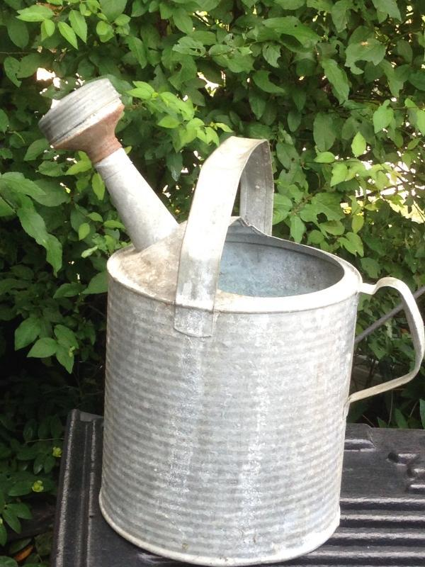 ITS THE PAPER ADVERTISING LABEL that is INTACT... GARDENING _Galvanized Water Can Collectible_ NO DAMAGE to Watering Can