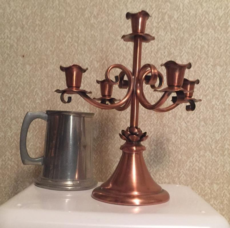 Gorgeous SOLID COPPER _ Gregorian Hand Craftsmanship_ CANDELABRA _ In Excellent Condition_ No Damage _ GIFT Any Day of the year