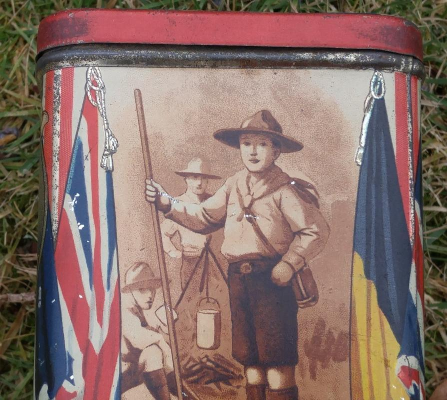 WWl _WW1 WAR SOUVENIR Ridgways TEA TIN_RARE images 1st Earl of Kitchener SIR JOHN FRENCH Sir John Jellico Wonderful ARTIFACT from years ago