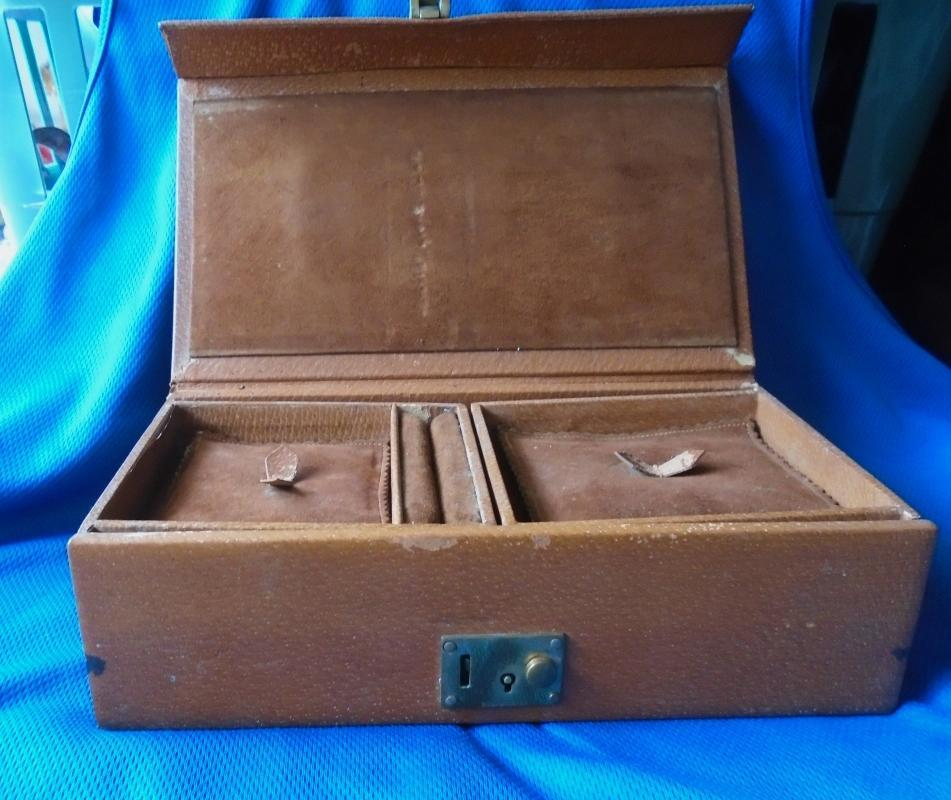 B. LEWIS 67 PICCADILLY , LONDON.W.I. _ Leather Jewelery Box_ features 2 fold out trays. Mid Century