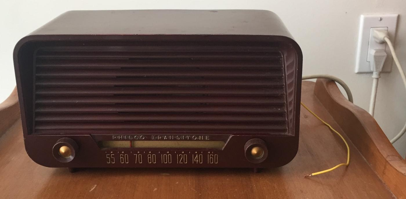 SERVICED C1940s WWll era Bakelite PHILCO TRANSITONE Farm Tube Radio