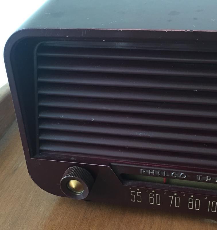 SERVICED C1940s WWll era Bakelite PHILCO TRANSITONE Farm Tube Radio