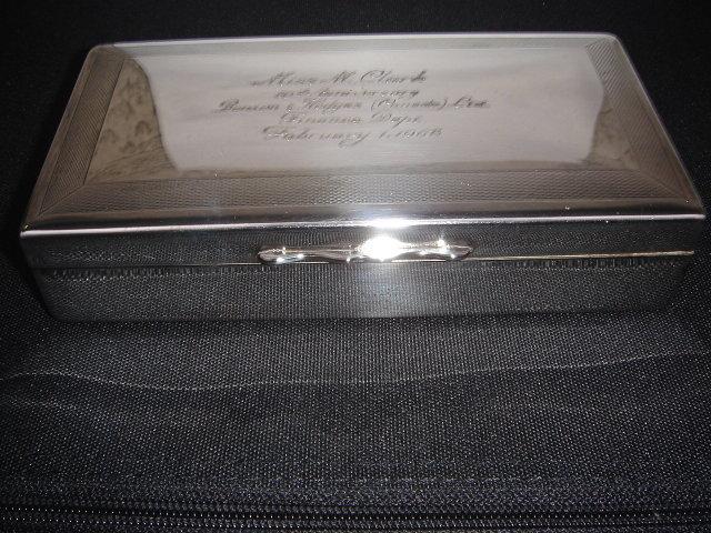 SILVER Cigarette Box  Bensen Hedges Presentation 1968_stamped epns
