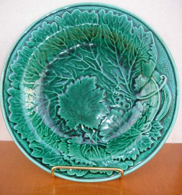 1850's Era Majolica Pair of Ivy Pattern Plates From Estate Coupland England unmarked