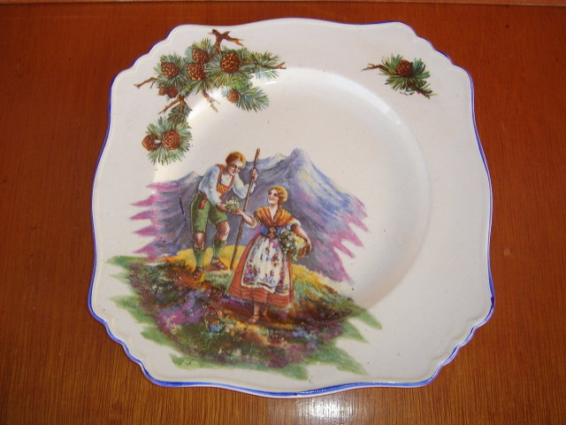 Vintage Royal Winton Plate with a Pretty Swiss Alps Scene Young Man and Young Lady