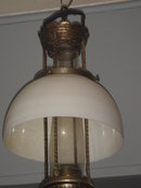 #12 ALADDIN HANGING OIL LAMP RARE FIND ORIGINAL Milk Glass Shade + FOUR POST Model Made in USA in Fantastic ORIGINAL Condition