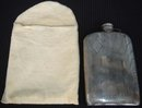 GIFT FOR THE MAN...Art Deco_. Massive STERLING SILVER PICNIC FLASK _10.51 OZ. or  298 GRAMS _ Made USA by EAM In Beautiful Condition . Clean Inside with Good Cork inset in Cap. 20's Era