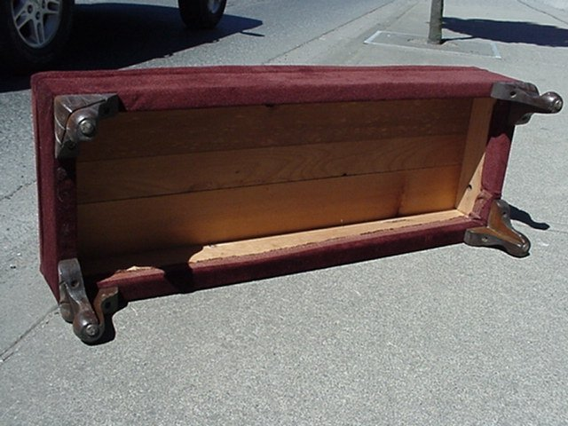 RARE Beautiful RESTORED Upholstered 38 Inch Long  FIRESIDE Bench / Footstool _ Use in the Living Room or by the Fireplace.Graceful Shaped Wood Legs. Made of Beautiful British Columbia Douglas Fir. Today a  B.C. Historical Item.1940's era.