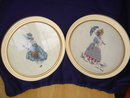 BEAUTIFUL Needlepoint  / TAPESTRY work in Round Solid Wood Frames Circa 1960 from Professional Art Shop